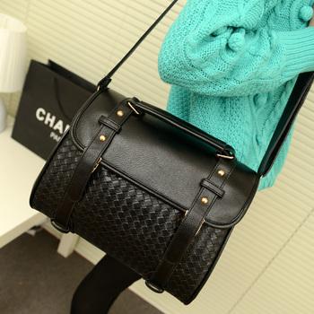 2015New  black knitted plaid women's bag women's Leather bag messenger bag Handbags
