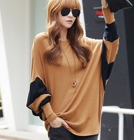 Women's xb6 fashion loose color block decoration o-neck shirt plus size batwing long-sleeve T-shirt autumn and winter female