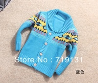 2013 autumn and winter large lapel button rhombus jacquard cardigan children sweater baby boy coat  3pcs/lot