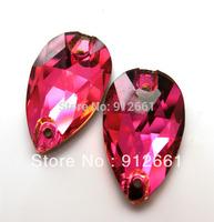 Free shipping(84pcs per lot)Crystal Sew On Rhinestone Fuchsia Colour 11*18mm Drop Shape Sew On Stone