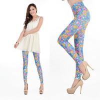 Woman New 2013 Seamless Floral blue Leggings Fashion Leggins Tattoo Jeggings free shipping #C9124