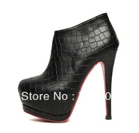 2013 Newest design Sexy 14cm Stiletto High Heels boots suede and Pu leather drop shipping Round toe Platform boots shoes
