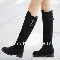 2013 winter black fashion buckle boots high-leg low-heeled boots vintage boots