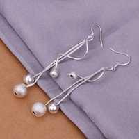 Hot Sell!Wholesale 925 silver earring,925 silver fashion jewelry Earrings,Two-line Light Sand Bead Earrings SMTE276
