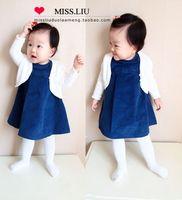Single child corduroy baimuer victoria princess one-piece dress