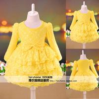 Cascading female child autumn long-sleeve dress autumn clothing tulle dress baby autumn 2013 dresses