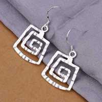 Hot Sell!Wholesale 925 silver earring,925 silver fashion jewelry Earrings,Square thread Earring SMTE344