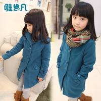 Sunfed children's autumn clothing autumn female child 2013 coat child outerwear child autumn woolen overcoat