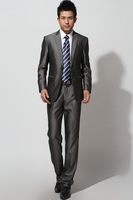 Wedding Suit Free shipping Male suits suit set slim grey suit top trousers  -403
