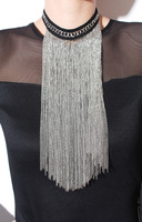 Mini order usd8,Exaggerated metal punk pendent tassels chain gold corall necklace for women,free shipping
