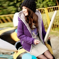 Autumn 2013 plus size clothing thickening slim reversible outerwear wadded jacket cotton-padded jacket
