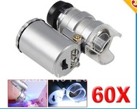 100PCS/lot* Mini Jeweller 60X Pocket Microscope Jewelry Magnifier Loupe Glass LED Light for iphone 4 4s for iphone 5