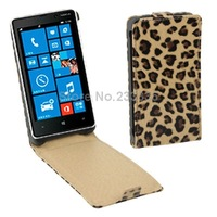 1pcs Free shipping Brown Leopard Texture Vertical Flip Leather Case for Nokia Lumia 820