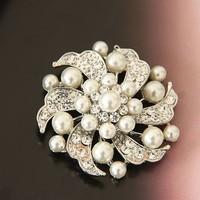 free shipping  beautiful  pearl and rhinestone crystal large brooch  wedding bridal dress pearl brooch pin jewelry SP-XZ-73208