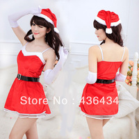 2013 New Red Christmas Kit With Hat Game Uniforms Temptation Sexy Lingerie Sleepwear Nightgown Women