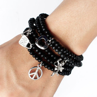 Free Shipping Christmas Gift Wholesale Fashion Wrap Chain Bead Bracelets Bangles Men Jewelry For Women Children