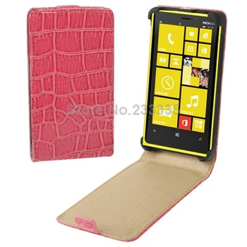 Cell Phone Accessories Crocodile Texture Vertical Flip Leather Case for Nokia Lumia 820 (Magenta)