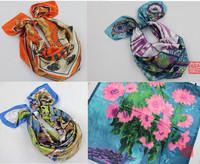 2013 Big Size 90x90cm Silk Square Scarf Women Fashion Brand High Quality Cheap Imitated Silk Satin Scarves Polyester Shawl Hijab