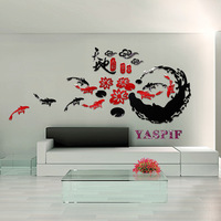 Fish classic chinese style fashion acrylic crystal three-dimensional wall stickers