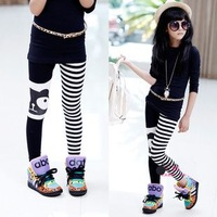 Children's clothing medium-large 2013 autumn female child asymmetrical stripe elastic pencil pants trousers legging