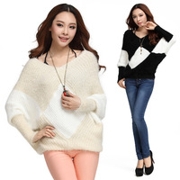 Autumn Pure colorKnit Sweater Outerwear  sweater women's Pullover Crochet Sweater Casual Plus Size Tops Knitted Jumper