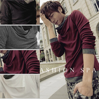 2014 new winter / Men's cultivate one's morality joker leisure long-sleeved shirt / High collar T-shirt