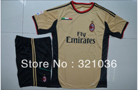 High Quality 2013  2014  Season  ac milan away gold        Soccer Jersey With SHORTS  Soccer Uniforms Kits