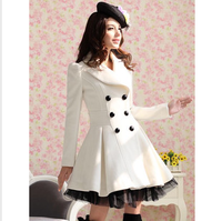 Gorgeous 2013 autumn and winter white slanting stripe tulle dress expansion bottom double breasted wool white warm overcoat