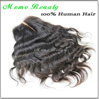 "100% Unprocessed Virgin Brazilian Hair Closures,Swiss Lace Closure,Middle Part 3.5x4"" Bleached knots Wavy Hair"