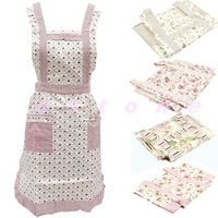 Cute Korean Style Small Flower Restaurant Kitchen Smock Aprons New
