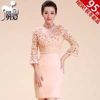 Hm395 three-dimensional lace elegant wedding dinner party slim dress one-piece dress