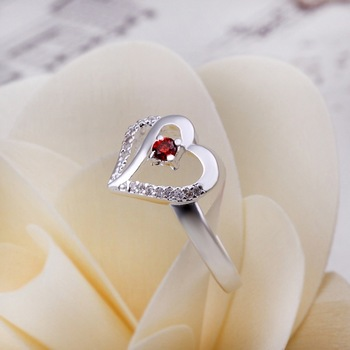 New Arrival! R274 Christmas Gift Fashion Jewelry 925 Silver Red Austrian Crystal Heart Ring For Women+Free Shipping