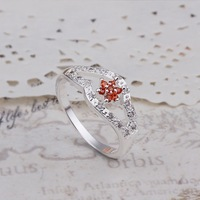 New Arrival! R278 Christmas Gift Fashion Jewelry 925 Silver Red Austrian Crystal Flower Ring For Women+Free Shipping