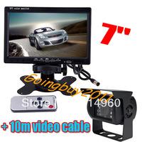 "7"" Car LCD Monitor Rear View Kit + 18 LED IR Reverse Camera For Long Truck Bus waterproof Free Shipping"