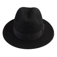 1 pcs free shipping 100% wool Hot-selling pure wool male fedoras felt cap the elderly large brim woolen hat  Unisex Fedora hat