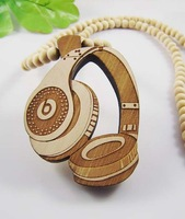 Earphone Necklace Pendant GOOD WOOD Beads Wooden Necklaces Hip Hop Fashion Jewelry Good Gift MT146