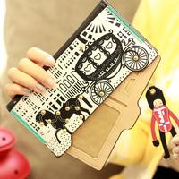 End Of Year Clearance Brand Women Wallet, Long Design PU Leather Women Handbag Card Holder Clip Purse With Cute Zipper, Retail,