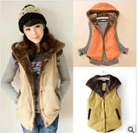2013 autumn and winter elegant cotton cloth vest coral fleece thickening women's vest top coat