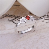New Arrival! R287 High Quality Fashion Jewelry 925 Silver Red Austrian Crystal Double Heart Ring For Women+Free Shipping