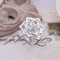 New Arrival! R308 High Quality Fashion Jewelry 925 Silver Clear Austrian Crystal Rose Ring For Women+Free Shipping