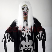 Halloween Costume Cosplay Devil Skeleton Skull Ghost Dress Clothes +Mask +Gloves