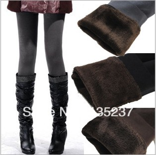Free shipping Thickening leggings for women fashion girls 2013 autumn winter double layer thick elastic velvet warm pants black