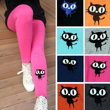 Free shipping 2013 fashion cute cat kitten cotton leggings for women girls spring autumn winter trousers nine ninth pants