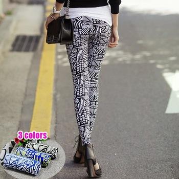 Free shipping 2013 trend flower pants leggings for women fashion girls spring fall winter woman's trousers nine ninth pants