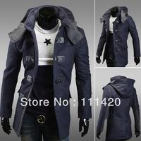 New Men's Slim Fit Cagoule Jacket Double Chest Leather Button Woolen Trench Coat