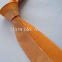 Yibei Coachella Ties Unique Orange Half With Yellow Grids Checkers Jacquard Necktie Gravata Formal Neck tie For Men dress Party