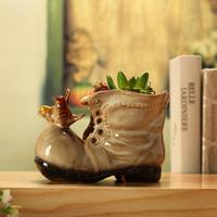 Ceramic boots flower shoes home decoration crafts small flower pot pen 7879 - 1