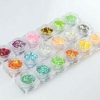 3d Nail Art Decorations 18 Colors MIX Heart Plum Pentagram Glitter Powder Nails Decoration Nail Supplies G013