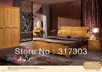 Factory wholesale solid oak wood double bed, modern design, bedroom furniture  solid wood bed- stand H8601