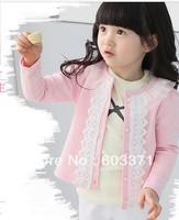 Autumn girls children's clothing Korean version of Hitz baby lace cardigan jacket children jacket